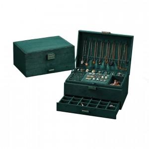 Кутия за бижута с три нива в зелено