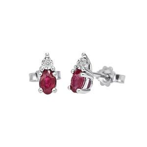 Златни дамски обеци с рубини и диаманти Bliss 20069994