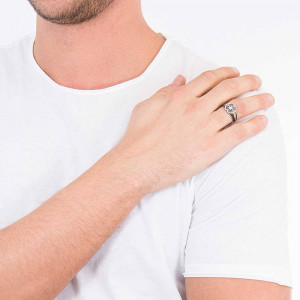 Сребърен мъжки пръстен Zancan EXA175