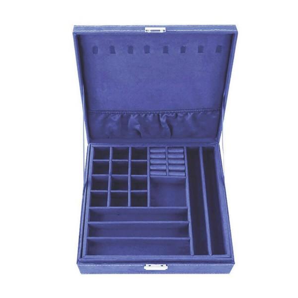 Синя кутия за бижута на две нива