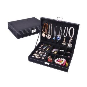 Черна кутия за бижута с отделения