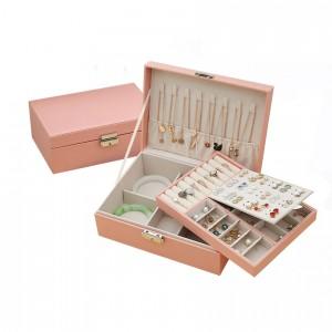 Кутия за бижута с две нива в розово