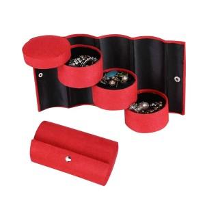 Цилиндрична кутия за бижута в червено