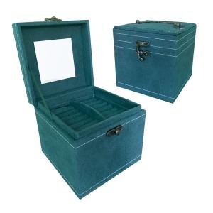 Зелена кутия за бижута с три нива