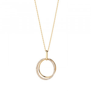 Дамско златно колие с диаманти Facet P0140B19