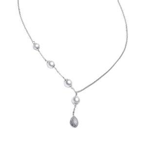 Дамско сребърно колие с перли Gaura Pearls SK18224N