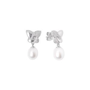 Дамски сребърни обеци Gaura Pearls SK18453E