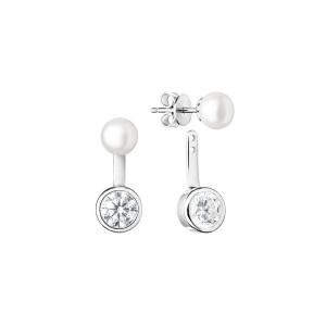 Дамски сребърни обеци Gaura Pearls SK19225E-W