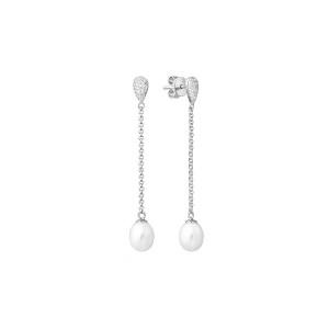 Дамски сребърни обеци Gaura Pearls SK19367E-W